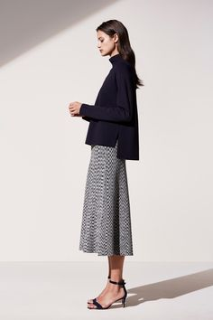 SHOP: Ann Taylor Spring 2016 oversized turtleneck sweater and chic a-line midi skirt