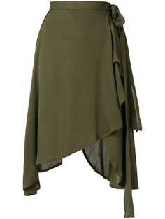 wrap style asymmetric hem skirt