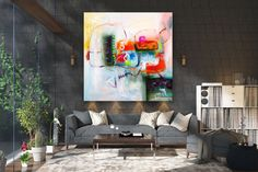 Large Abstract Painting,texture painting,colorful abstract,large interior art,textured paintings FY0055