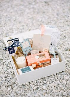 Welcome bag ideas: From personalized refreshments to a fragrant candle, guests will appreciate each and every detail of a thoughtful welcome box.
