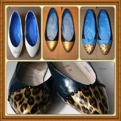 Upcycled shoe:  These started as simple white flats. The finished product is a fabulous pair of navy and leopard shoes with a little bling added.