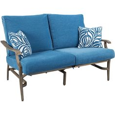 Signature Design By Ashley Fiji Loveseat - Patio Sofas - Blue - Blue... ($1,600) ❤ liked on Polyvore featuring home, furniture, sofas, beige couch, off white furniture, beige sofa, signature design by ashley furniture and cream colored furniture