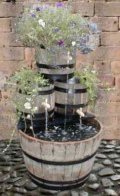Oak barrel water feature