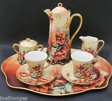 Antique HP Limoges Haviland Guerin Chocolate Pot Set Ranson Tray Poppy C&S 1905