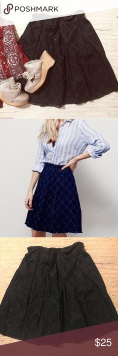 Free People • baby love skirt Soft denim swingy a-line skirt with embroidery.  Elastic waist.  Size small, fits like a 4-6 IMO.  Made in USA 🇺🇸 Color is closer to the stock photo maybe not quite as bright.  I just didn't have good light when I took my pics. Free People Skirts
