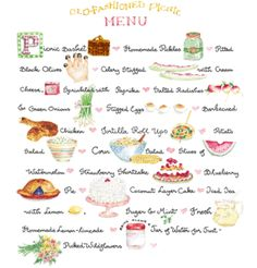 Old fashioned picnic menu  (pretty sure this is done by Susan Branch -- love her)
