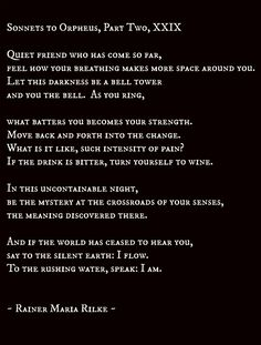 sonnets to orpheus, part two, xxix - rainer maria rilke