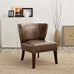 Jamestown Bonded Leather 1-Piece with Nail Head Trim Accent Chair in Saddle Brown