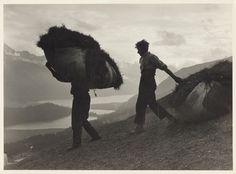 """GRAUBÜNDEN. STEINER, ALBERT (1877-1965). """"Bergheuer im Oberengadin""""."""