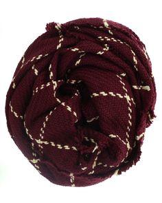 Burgundy Window Pane Knit Scarf