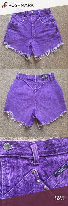 80's Vintage High Waisted Denim Cut Off Shorts Vintage Ozark Mountain Jean Company high waisted purple denim cut off shorts Ozark Mountain Jean Company Shorts Jean Shorts