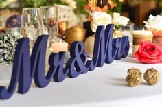Items similar to Mr & Mrs script letters for wedding table, Royal Blue wedding Theme, Navy Blue wedding Theme, Mr Mrs signs sweetheart table decoration on Etsy Wedding Reception Backdrop, Wedding Reception Decorations, Royal Blue Wedding Decorations, Wedding Receptions, Navy Wedding Centerpieces, Reception Ideas, Wedding Ceremony, Wedding Signs, Wedding Day