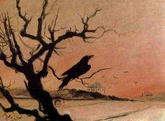 Mikoláš Aleš ~ Karlštejnský havran 1882 Jackdaw, American Gods, Science Art, Dark Art, Painting & Drawing, Moose Art, Drawings, Artwork, Animals