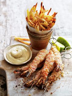 Looking for a pub-style appetizer at home? These Wasabi-Crumbed Prawn Skewers and Shoestring Fries add a touch of spice to the traditional prawn appetizer! These would also be great served with a big green salad to make a full meal! Fish Recipes, Seafood Recipes, Appetizer Recipes, Cooking Recipes, Healthy Recipes, Wasabi Recipes, Prawn Recipes, Seafood Dishes, Fish And Seafood