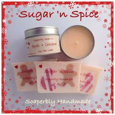 Apple and Cinnamon gift set, comprising of one Sugar 'n Spice soap bar and a soy wax candle in a tin, handmade with love. by SoaperblyHandmade on Etsy