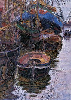 Egon Schiele, Boote im Hafen von Triest, Öl und Bleistift auf Karton, 29x21 cm, 1908
