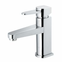 Vigo VG01030CH  $105 Polished chrome. 5 3/8 center to center, 3 5/8 base to spout.  Similar spacing to Misa's bathroom sink.