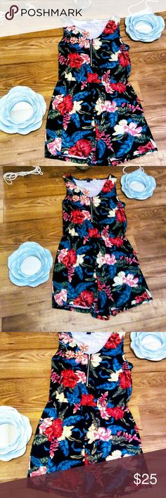 """""""Tropical Den"""" Floral Romper Sleeveless Floral Romper with silver front zipper. Perfect for season! Cute, flirty, and fun! Dresses Mini"""