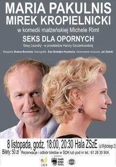 """8 listopada 2014r. w Śremie odbędzie się spektakl """"Seks dla opornych"""" w reżyserii Bożeny Borowskiej, w którym występuje dwójka znakomitych aktorów: Maria Pakulnis oraz Mirek Kropielnicki. Spektakl jest komedią małżeńską autorstwa Michele Riml, przekładu dokonała Hanna Szczerkowska. W Śremie wystawiony zostanie dwukrotnie, o godz. 18:00 i 20:30 w Hali ZSzE mieszczącej się na ulicy Wybickiego 2. więcej na www.kulturalny.naszsrem.pl"""