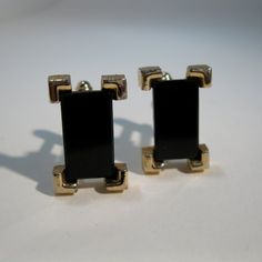 Vintage 1960s Cufflinks #vintage #cufflinks #sarahcoventry #black #rectangle #wedding #madmen @Etsy