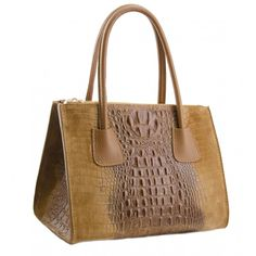 Genuine Leather handbag, Crocodile Print, made in Italy - Angelica Brown Sky How To Make Handbags, Crocodile, Leather Handbags, Buy Now, Italy, Sky, Tote Bag, Brown, Stuff To Buy