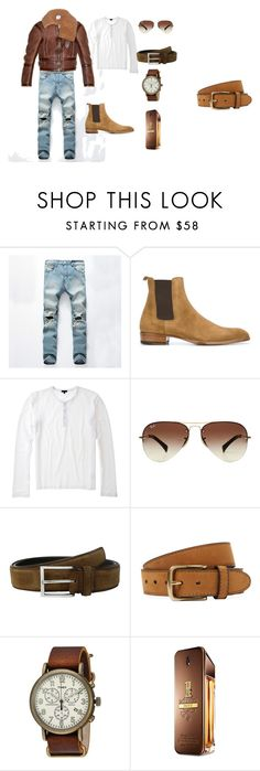 """""""Top Gun Weekender"""" by lgcrespo on Polyvore featuring Yves Saint Laurent, Ray-Ban, To Boot New York, Bergè, Timex, Paco Rabanne, Vetements, men's fashion y menswear"""