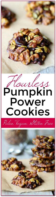 (Paleo, Gluten Free, Vegan) We love these flourless Pumpkin Power Cookies! Jam packed with nutrition and something my whole family likes! Makes a great grab and go healthy snack. Paleo, Gluten Free and Vegan. Paleo Dessert, Healthy Sweets, Gluten Free Desserts, Vegan Desserts, Healthy Snacks, Dessert Recipes, Breakfast Healthy, Healthy Smoothies, Healthy Recipes