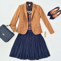 Preppy Plaid Tartan Shirt; Camel-Colored Blazer; Navy Pleated Skirt; Navy Ballet Flats & Crossbody Handbag