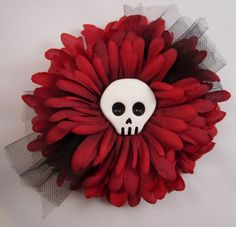 #Handmade Hair Clip / Brooch Red Flower with Skull and Tulle by ninjavspirategifts, $16.00