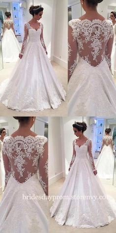 Modest Wedding Dresses,Wedding Dresses Long, Lace Wedding Dresses,Wedding Dresses With Long Sleeves,Illusion Back V Neck White Bridal Gown is part of White tulle wedding dress inches Tailoring Time - Western Wedding Dresses, Wedding Dress Trends, Wedding Dress Sleeves, Modest Wedding Dresses, Tulle Wedding, Wedding Dress Styles, Designer Wedding Dresses, Bridal Dresses, Wedding Gowns