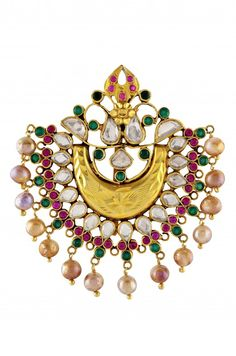 Silver Gold Plated Textured Crystal Pearl Chaand Jhumar. AMRAPALI