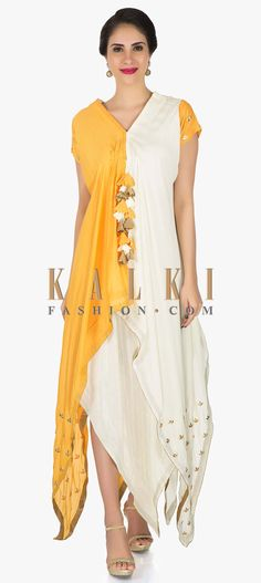 Mustard cotton tunic featuring the elegant resham embroidery work only on Kalki Western Dresses, Indian Dresses, Indian Outfits, Half Saree Lehenga, Party Wear Dresses, Indian Designer Wear, Fashion Outfits, Womens Fashion, Stylish Dresses