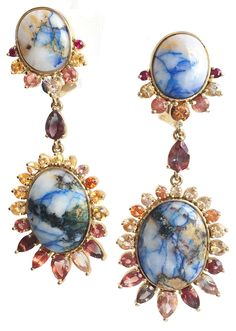 Earrings by Caitlin Mociun of Mociun with gems of quartz, sunstone, ruby, and sapphire.