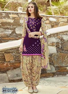 Shop readymade purple cotton cambric patiala suit , freeshipping all over the world , Item code Designer Salwar Kameez, Patiala Salwar, Designer Kurtis, Salwar Designs, Patiala Suit Designs, Pakistani Dress Design, Pakistani Outfits, Indian Outfits, Punjabi Fashion