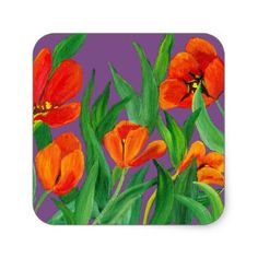 Red Tulips on Purple Square Sticker - red gifts color style cyo diy personalize unique