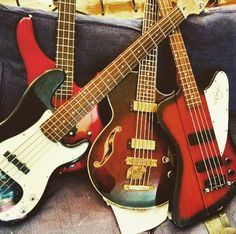 The bass collection in the Teach Me Music studio. Gibson, Fender, Squier and Sandberg