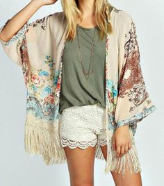 Stylish Collarless Floral Print Tassel Embellished Batwing Sleeve Blouse For WomenBlouses | RoseGal.com