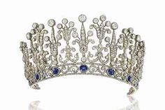 A LATE 19TH CENTURY SAPPHIRE AND DIAMOND TIARA NECKLACE