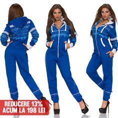 Salopeta Abby Blue  >> Click pe poza pentru a intra pe site.Salopeta dama eleganta albastra cu modele si fermuar alb. Este prevazuta si cu gluga. Produs in: Marea Britanie #VinereaNeagra #BlackFriday #Reduceri #fashion #BlackFridayFashion #ReduceriBlackFriday Black Friday, Parachute Pants, Jumpsuit, Blue, Dresses, Style, Fashion, Overalls, Swag