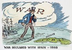 Spanish American War; the U.S. declares war with Spain in 1898 after the Maine incident