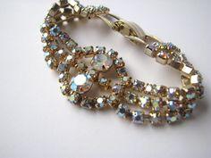 Vintage Bracelet AB Crystal 50s 60s Large by ColorMeVintage, $48.00