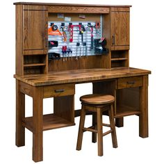 ⛏️Murphy Amish Desk Workbench🔧 A handyman's dream, this Amish desk workbench features a versatile workspace, ingenious storage accessories and optional swivel Amish bar stool. Handcrafted from rich hardwood, this Amish bench workstation boasts top made of reclaimed wood. Store your tools and equipment in style with a convenient hanging rack, storage drawers, shelves and cabinets. #wood #woodworking #handcrafted #handmade #workbench #amishworkbench #tools #toolstorage #DIY #hardwood Man Cave Furniture, Amish Furniture, Solid Wood Furniture, Space Furniture, Fine Furniture, Furniture Ideas, Diy Workbench, Hanging Racks, Wooden Desk