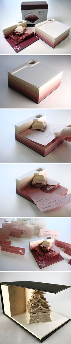 Omoshiro Block: A Paper Memo Pad That Excavates Objects as It Gets Used
