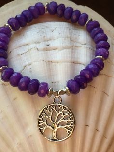 Deep Purple Jade Stretch Bracelet With Tree of Life by HumbleMySoul on Etsy https://www.etsy.com/listing/257446387/deep-purple-jade-stretch-bracelet-with