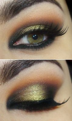 This eye makeup is just beautiful. It really makes her green/hazel eyes stand out