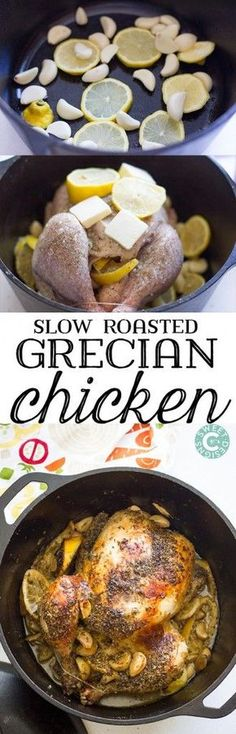 This simple, easy Dutch Oven Grecian Chicken uses only five ingredients and requires 5 minutes of prep for the most juicy, flavorful whole roasted chicken!