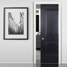 Single Pocket Arnhem 2 Panel Black Primed Internal Door. #pocketdoor #concealeddoor
