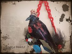 SALE   NeverMore  Edgar Allan Poe s  Raven  OOAK Art Wall Mirror by WiLd PeArLy.