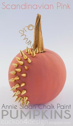 AWESOME -- Scandinavian Pink Annie Sloan studded pumpkin