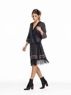 Kimono dress with fringes